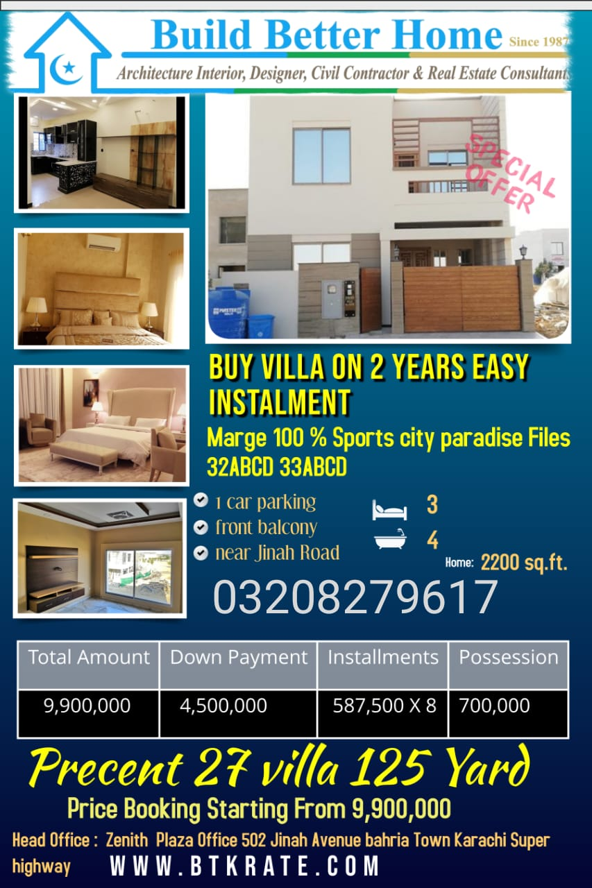 Villas On Easy instalments And Margeing